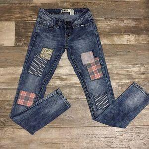 Vintage Zanadi  Boho Patchwork Denim Skinny Jeans